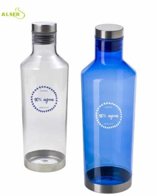 Botella de agua transparente personalizable para regalo de empresa. colores azul y blanco