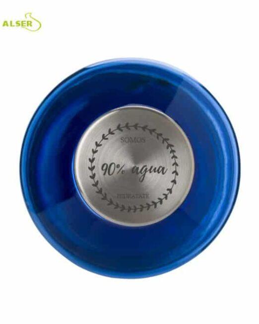 Botella de agua transparente personalizable para regalo de empresa. Detalle del tapon
