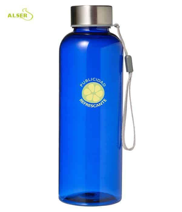 Botella transparente personalizable para regalo de empresa Azul