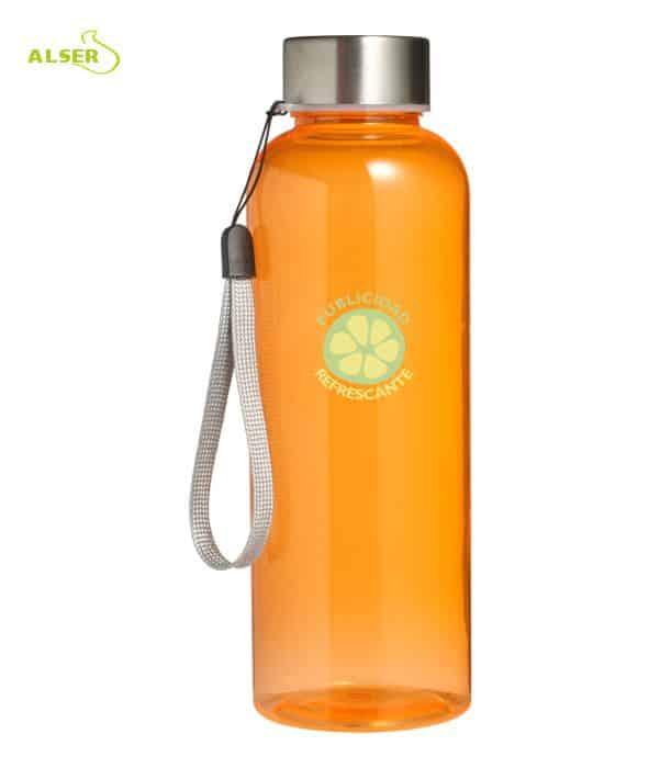 Botella transparente personalizable para regalo de empresa naranja