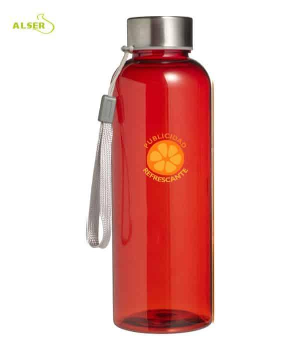 Botella transparente personalizable para regalo de empresa roja