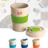 Vaso de viaje en fibra de bambú para promoción de empresa. Colores