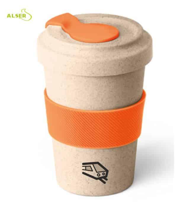 Vaso de viaje en fibra de bambú para promoción de empresa. Naranja