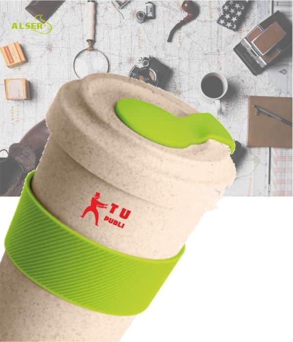 Vaso de viaje en fibra de bambú para promoción de empresa. Detalle Tapa