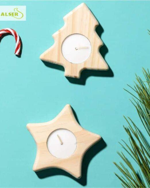 Portavelas de madera navideño Forma de estrella y pino