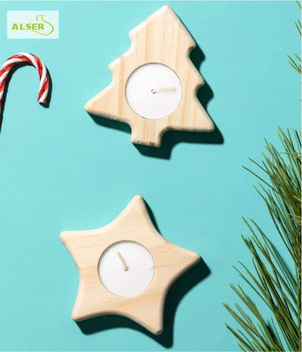 Portavelas de madera navideño PINE