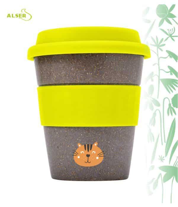 Vaso bambú biodegradable para publicidad Amarillo