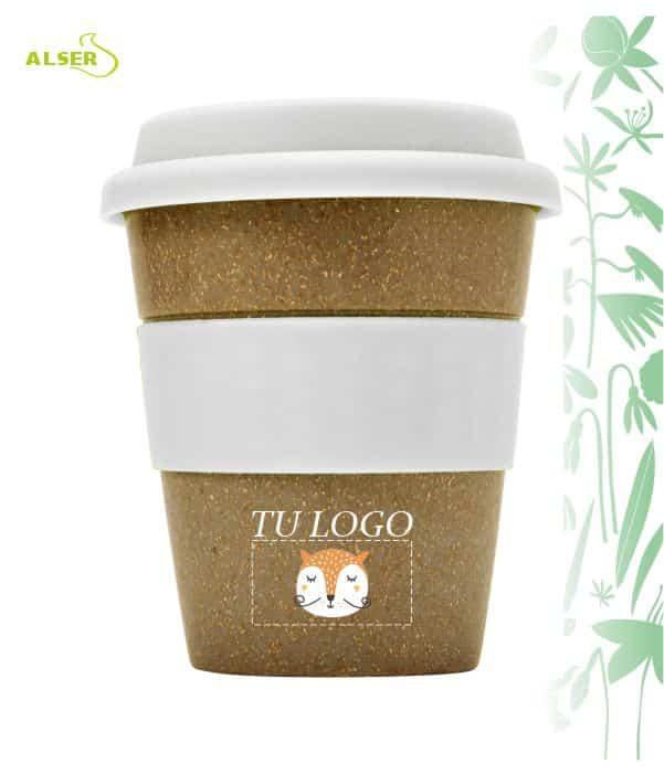 Vaso bambú biodegradable para publicidad blanco