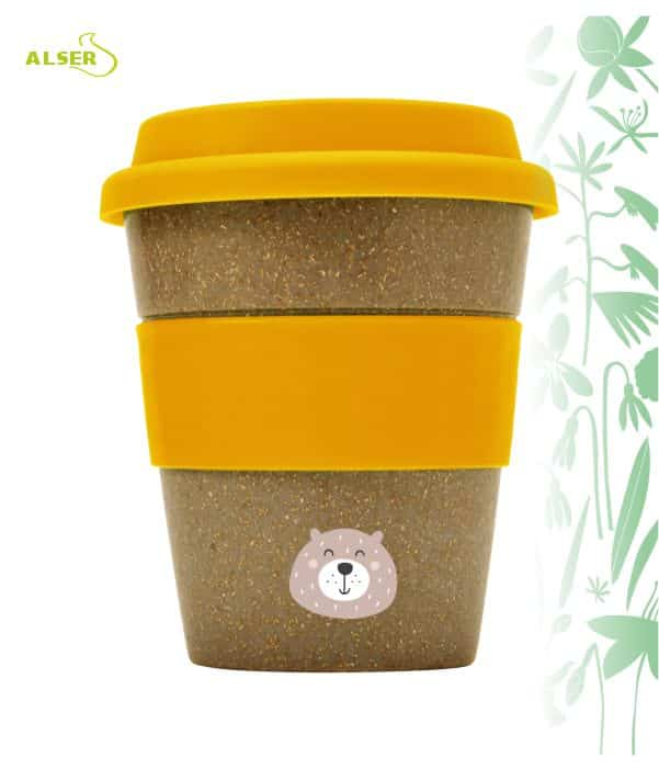 Vaso bambú biodegradable para publicidad naranja