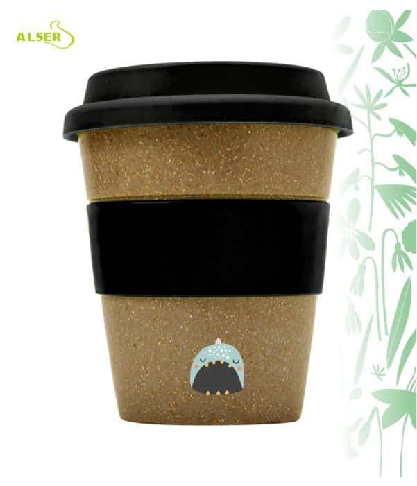 Vaso bambú biodegradable para publicidad Negro