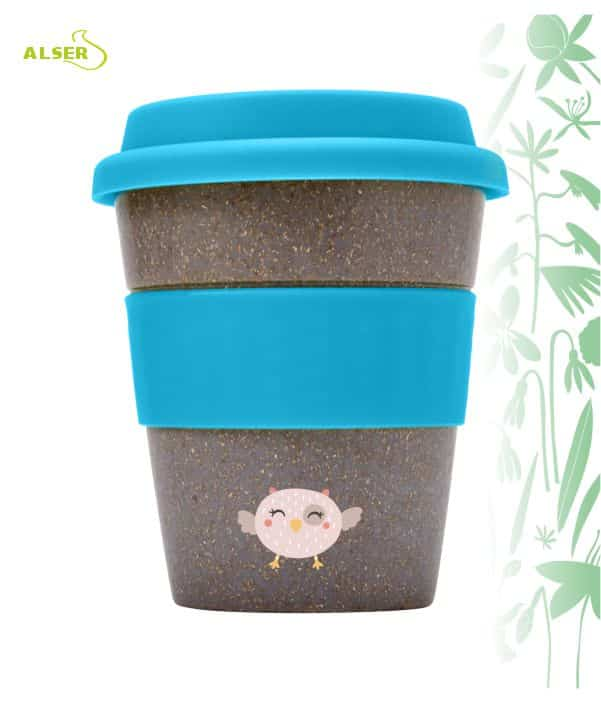 Vaso bambú biodegradable para publicidad Azul