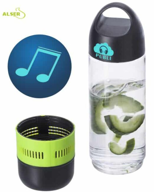 Botella de agua con Altavoz bluetooth incorporado
