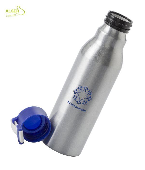 Botella aluminio personalizada . tapón azul