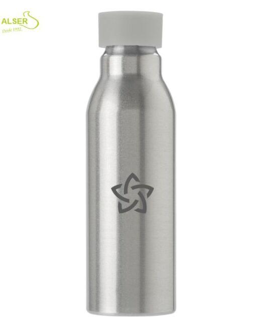 Botella aluminio personalizada . tapón blanco