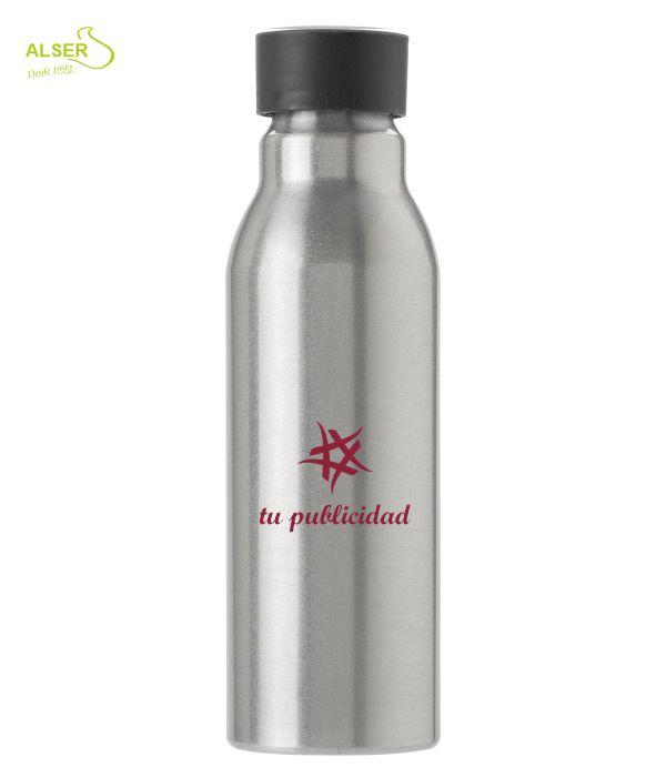Botella aluminio personalizada . tapón negro