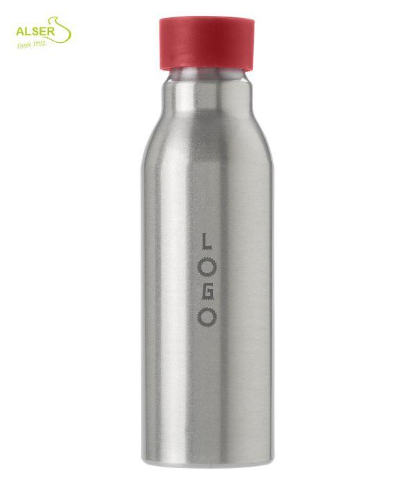 Botella aluminio personalizada . tapón rojo