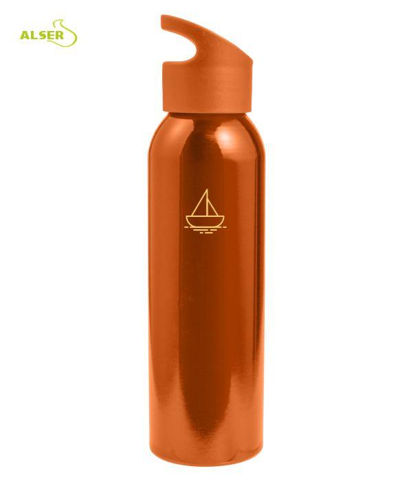 Botella para excursiones de metal. Botella personalizable. Naranja