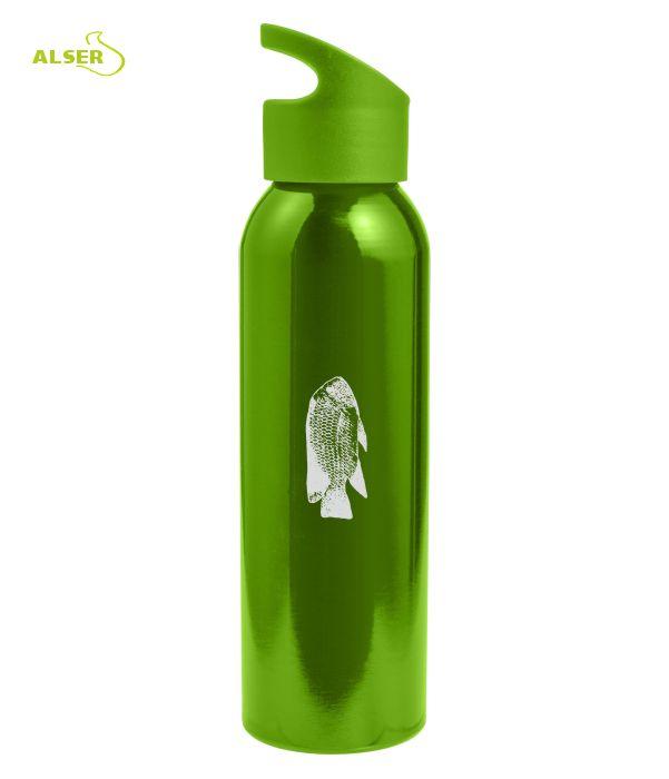 Botella para excursiones de metal. Botella personalizable. Verde