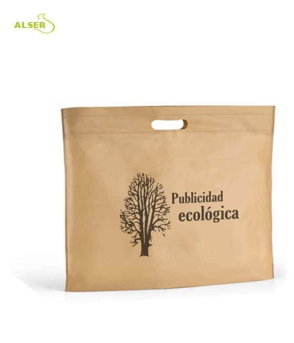 Maletín portadocumentos ecológico fabricado en corcho. Bolsa de presentación.