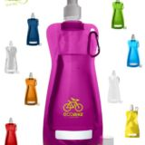 Botella de agua plegable. Bidones peronsalizados con logo. Colores
