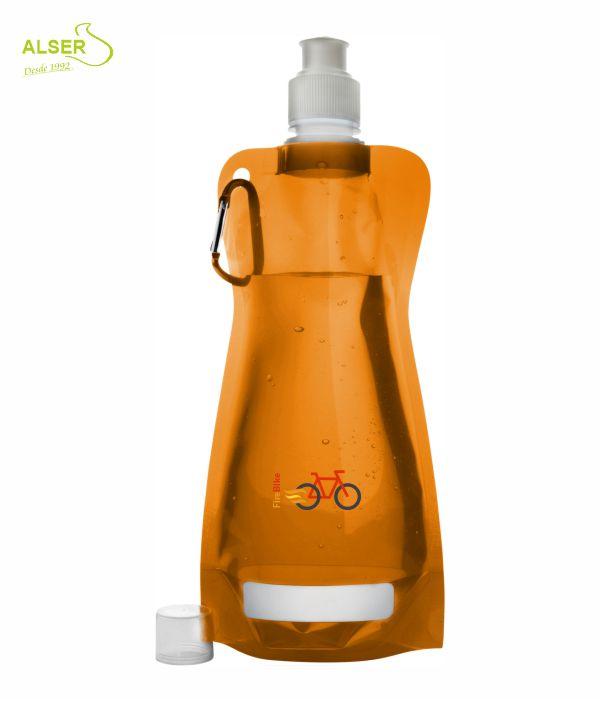 Botella de agua plegable. Bidones peronsalizados con logo. Naranja