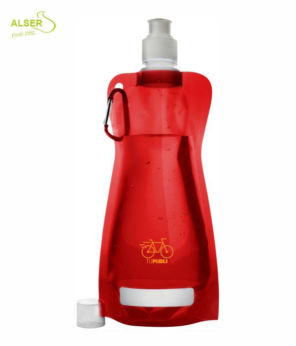 Botella de agua plegable. Bidones peronsalizados con logo. Roja