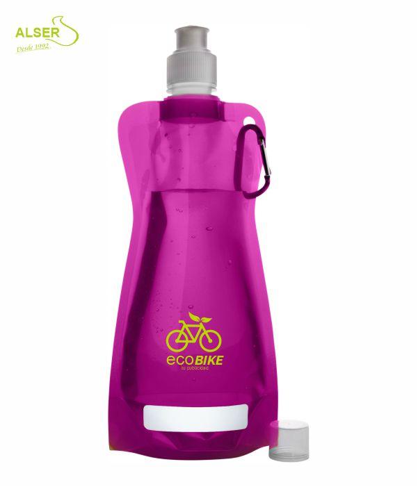 Botella de agua plegable. Bidones peronsalizados con logo. Rosa