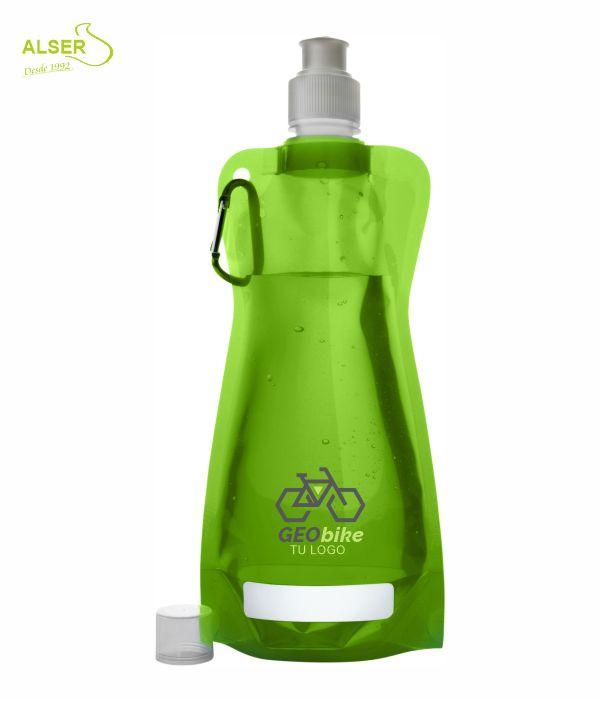 Botella de agua plegable. Bidones peronsalizados con logo. Verde Claro