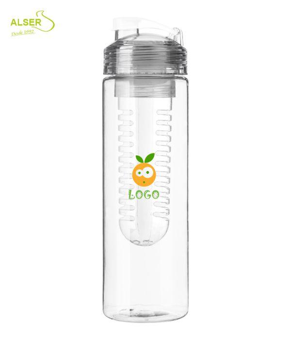 Botella de agua con difusor de fruta. Color Blanca