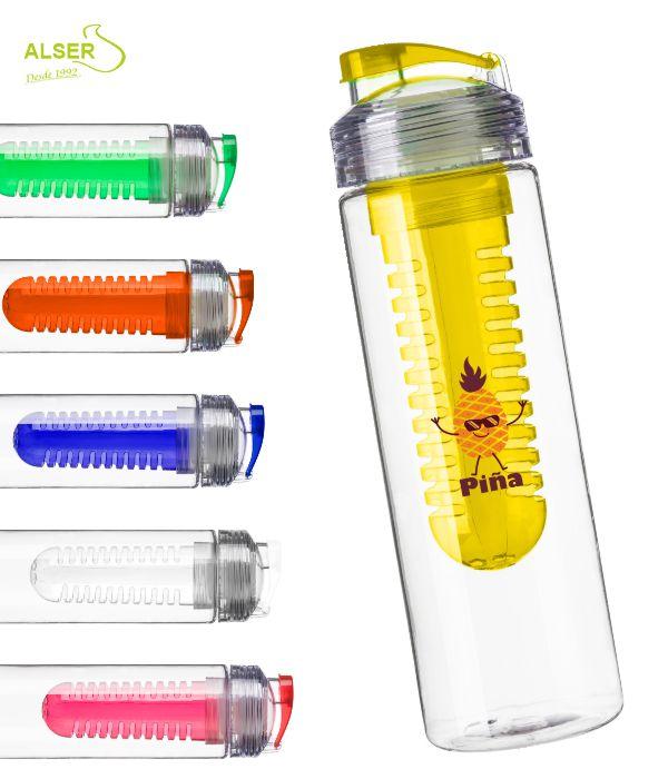 Botella de agua con difusor de fruta. Color Amarilla