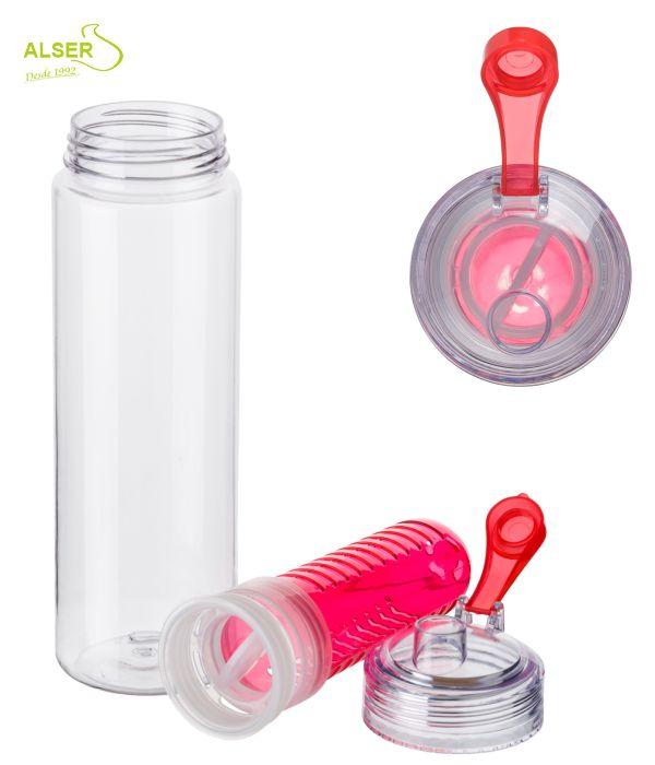 Botella de agua con difusor de fruta. Detalle de la tapa y el difusor