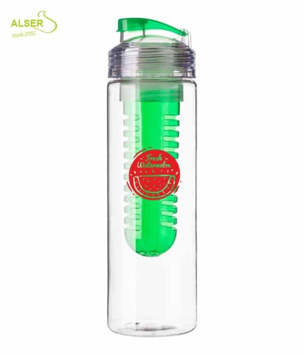 Botella de agua con difusor de fruta. Color verde