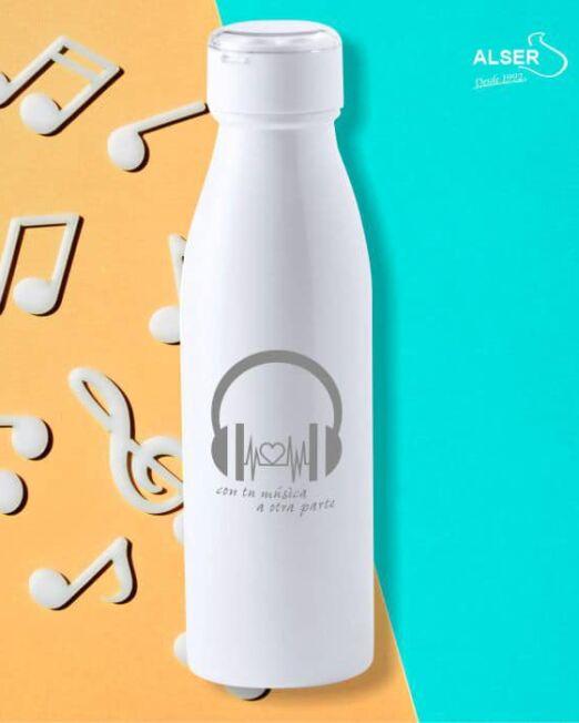 botella con auriculares publicitaria