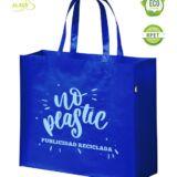 Bolsa RPET personalizable publicitaria. Azul