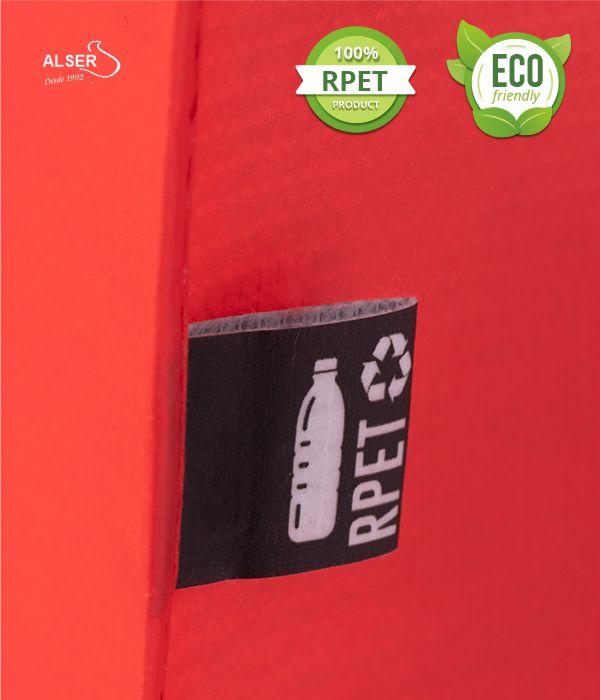Bolsa RPET personalizable publicitaria. Detalle Etiqueta