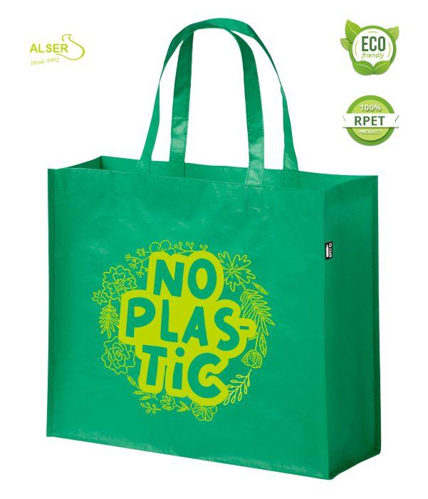Bolsa RPET personalizable publicitaria. Verde