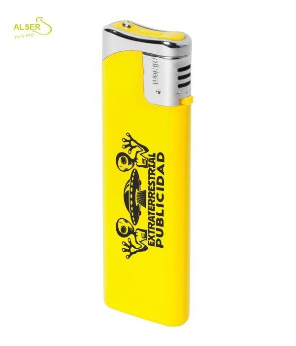 Encendedor plano personalizable para publicidad. Amarillo