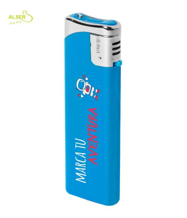 Encendedor plano personalizable para publicidad. Azul claro