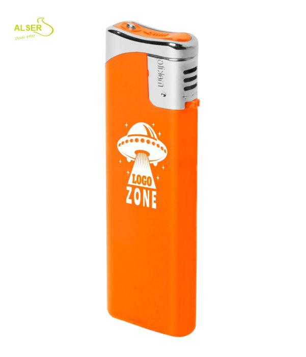Encendedor plano personalizable para publicidad. Naranja
