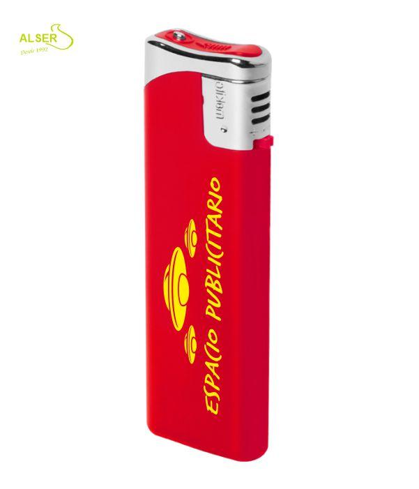 Encendedor plano personalizable para publicidad. Rojo