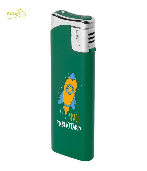 Encendedor plano personalizable para publicidad. Verde