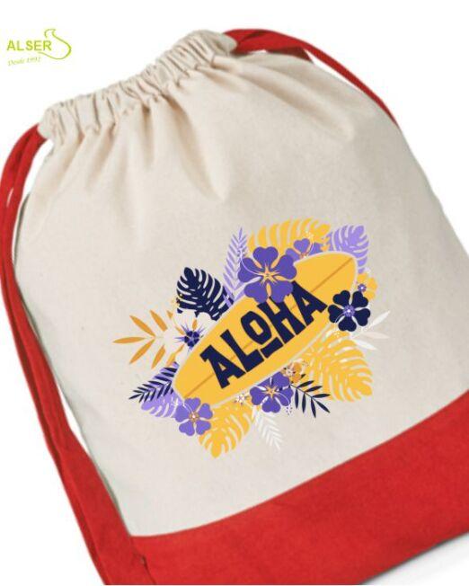 Mochila de lona de algodon para publicidad de empresa. Detalle