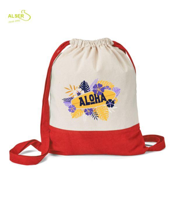 Mochila de lona de algodon para publicidad de empresa. Roja