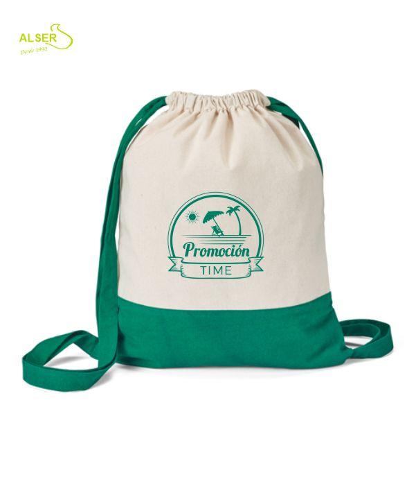 Mochila de lona de algodon para publicidad de empresa. Verde