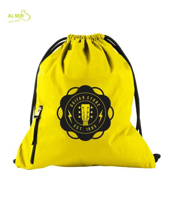 mochila de cordones para publicidad. Amarilla