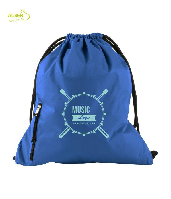 mochila de cordones para publicidad. Azul