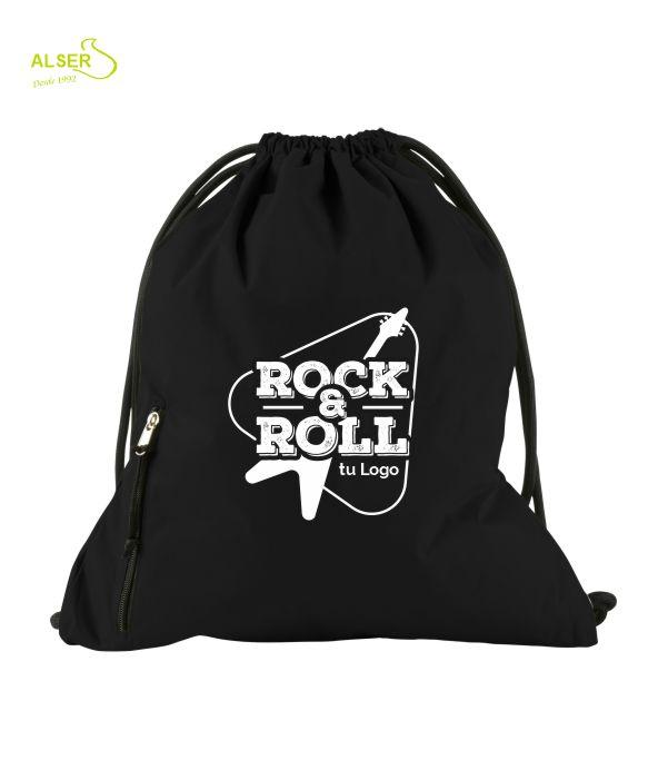 mochila de cordones para publicidad. Negra