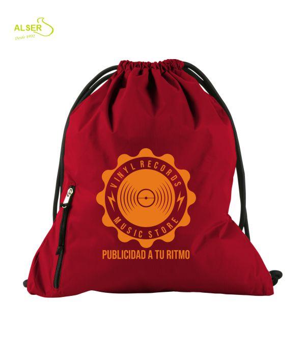 mochila de cordones para publicidad. Roja