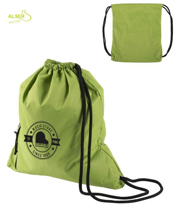 mochila de cordones para publicidad. Verde