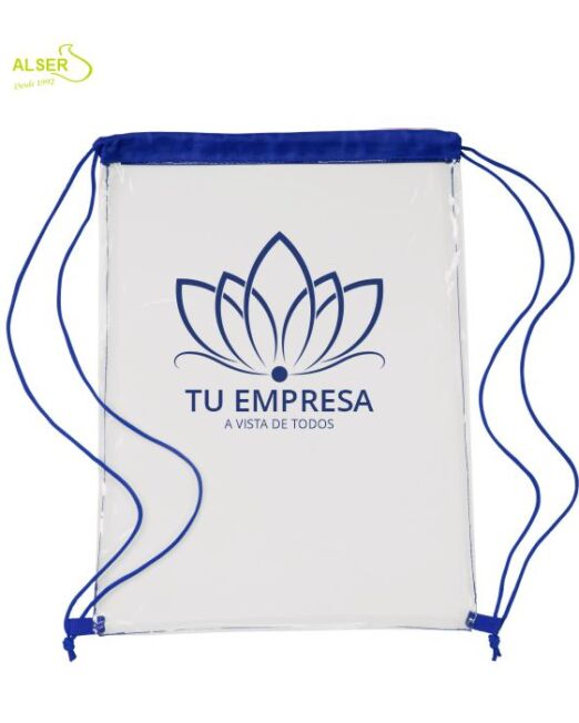Mochila TRANSPARENTE peronalizada. Azul